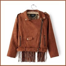 Brown Faux Leather Suede Motorcycle Cross Zip Up Long Flying Fringed Back Jacket image 4