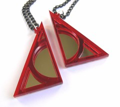 Harry Potter Deathly Hallows best friends necklaces Laser cut red plastic - $14.86