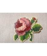New Rose Pin Brooch Glass Beads Jewelry Finished Mill Hill Handmade Red ... - $21.04