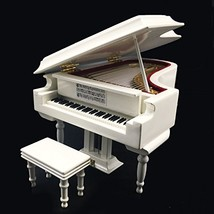 Mylifestyle White Piano Music Box with Bench and Black Case Musical Boxe... - $66.49