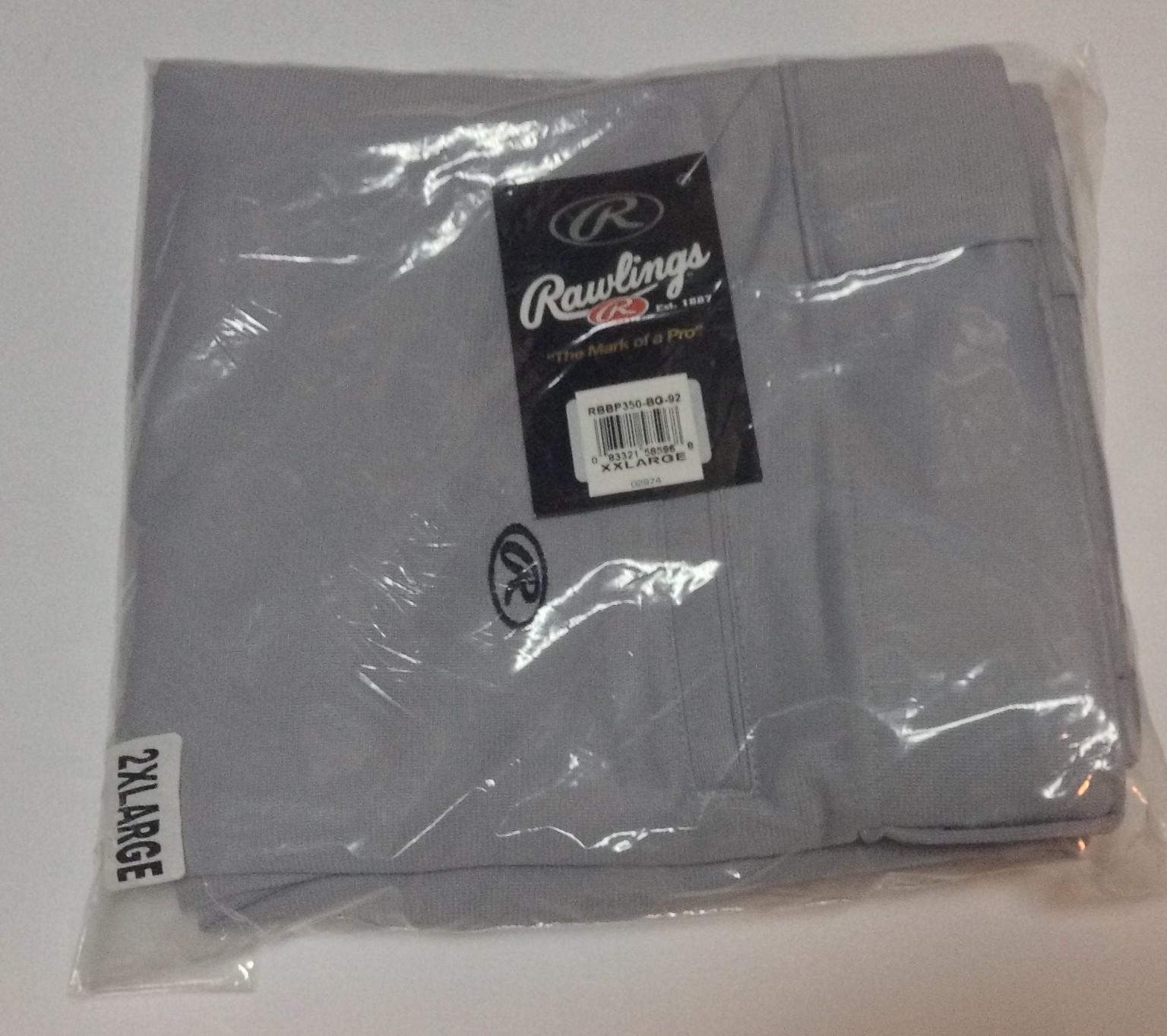 RAWLINGS Adult Baseball Uniform Pants NWT Sz 2XL Gray