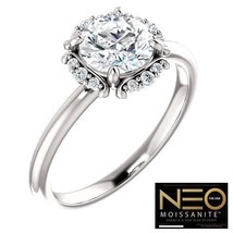 1.35 Carat (6.5mm) (EF Colorless) NEO Moissanite Solitaire Ring in 14K Gold - $995.00
