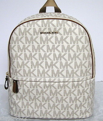 Primary image for Michael Kors Large Kieran Signature Logo Backpack Vanilla New NWT