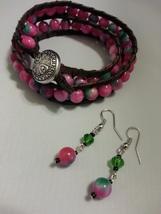 Leather wrap bracelet with pink /green Jade gemstone. - $25.00