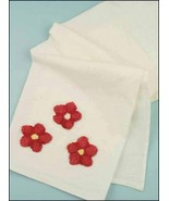 Flower Sack Towel Large 29x29 100% cotton cross stitch embroidery punch ... - $3.60