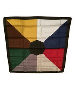 Color Block Silk Scarf Neckwear Brown Gold Silver Nvy Blue Red White Gre... - $30.00