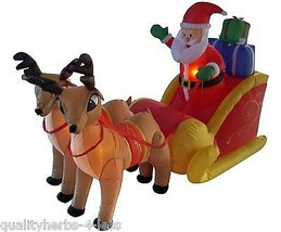 6' Inflatable Santa Claus Sleigh W/Reindeer Lighted Outdoor Christmas De... - $147.99