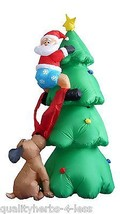 6' Inflatable Santa on Tree Chased by Dog Lighted Outdoor Christmas Deco... - ₨10,185.69 INR