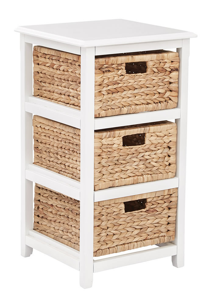 3 Drawer Espresso or White Wood Storage Tower w Baskets