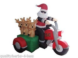 6' Inflatable Santa on Motorbike Reindeer Lighted Outdoor Christmas Deco... - $147.99