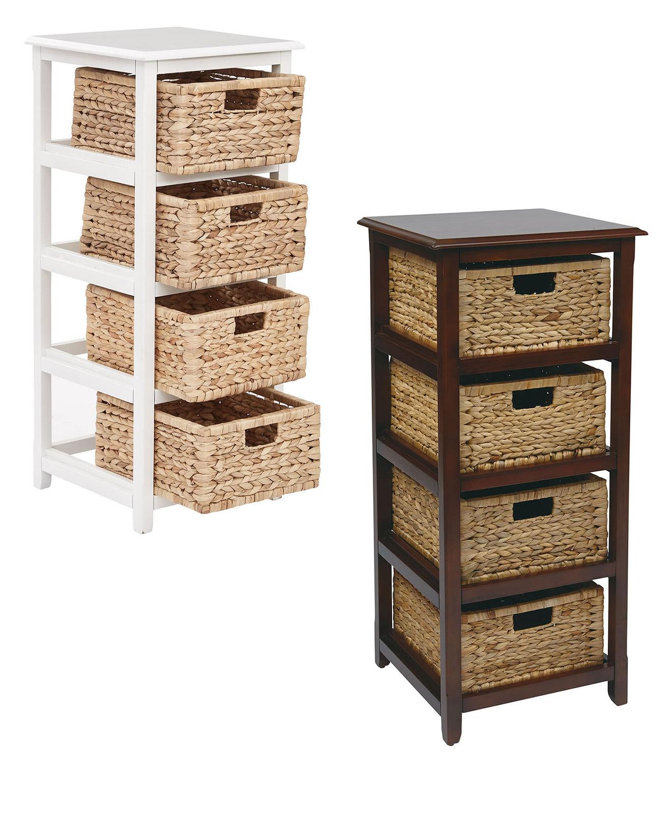 4 Drawer Espresso Or White Wood Storage