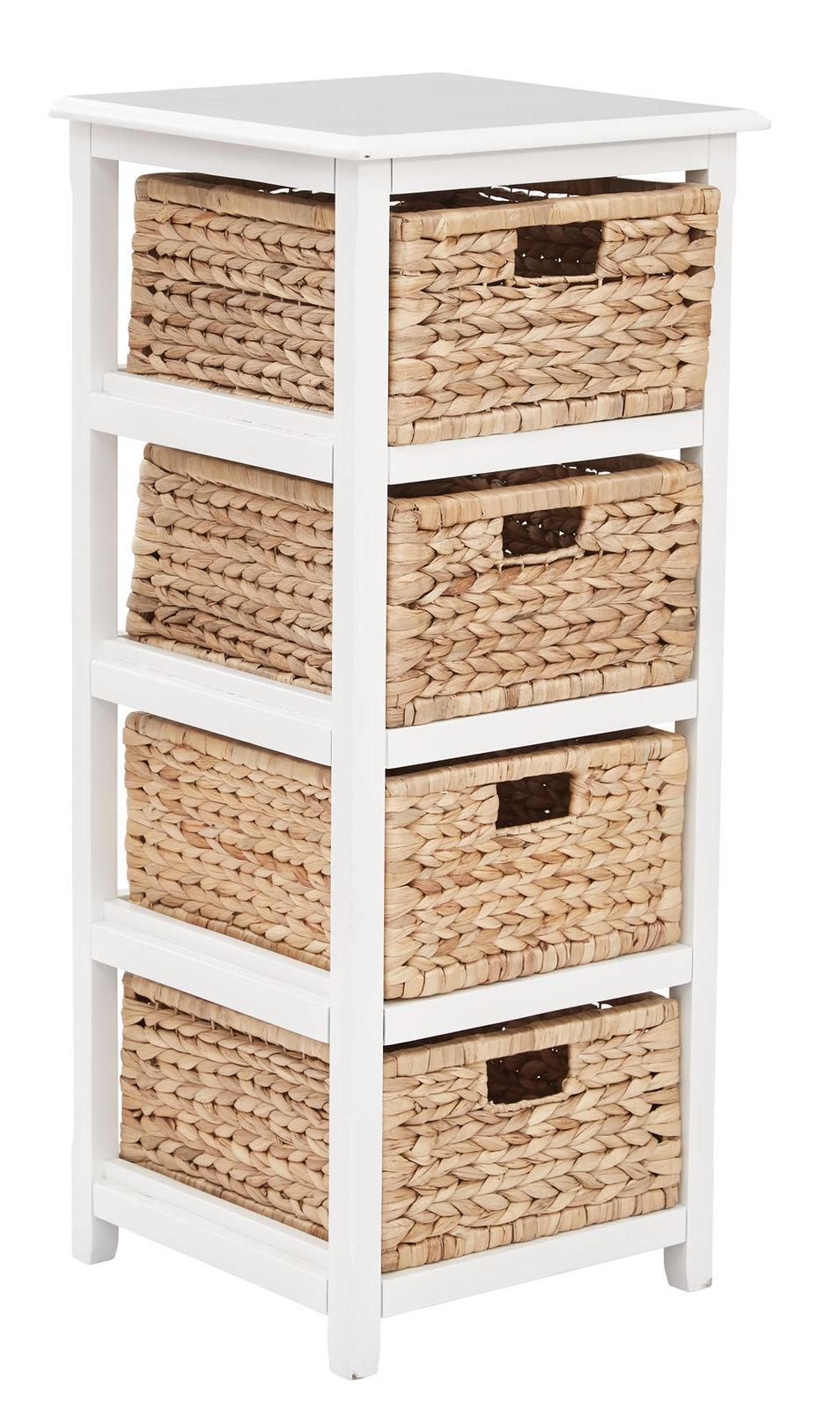4 Drawer Espresso Or White Wood Storage Tower W/Baskets