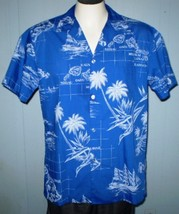 Rai Nani Large Hawaiian Button Front Shirt Hawaiian Island Names With Po... - $25.00