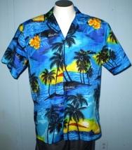 Royal Creations Hawaii Large Button Front Hawaiian Shirt Hibiscus Palm T... - $25.00