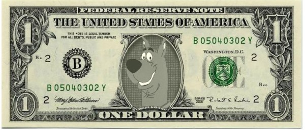 Primary image for SCOOBY DOO on REAL Dollar Bill Collectible Celebrity Cash Memorabilia Money Bank