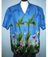 RJC 2XL Button Down Hawaiian Shirt Fuchsia Martini Glasses - $35.00