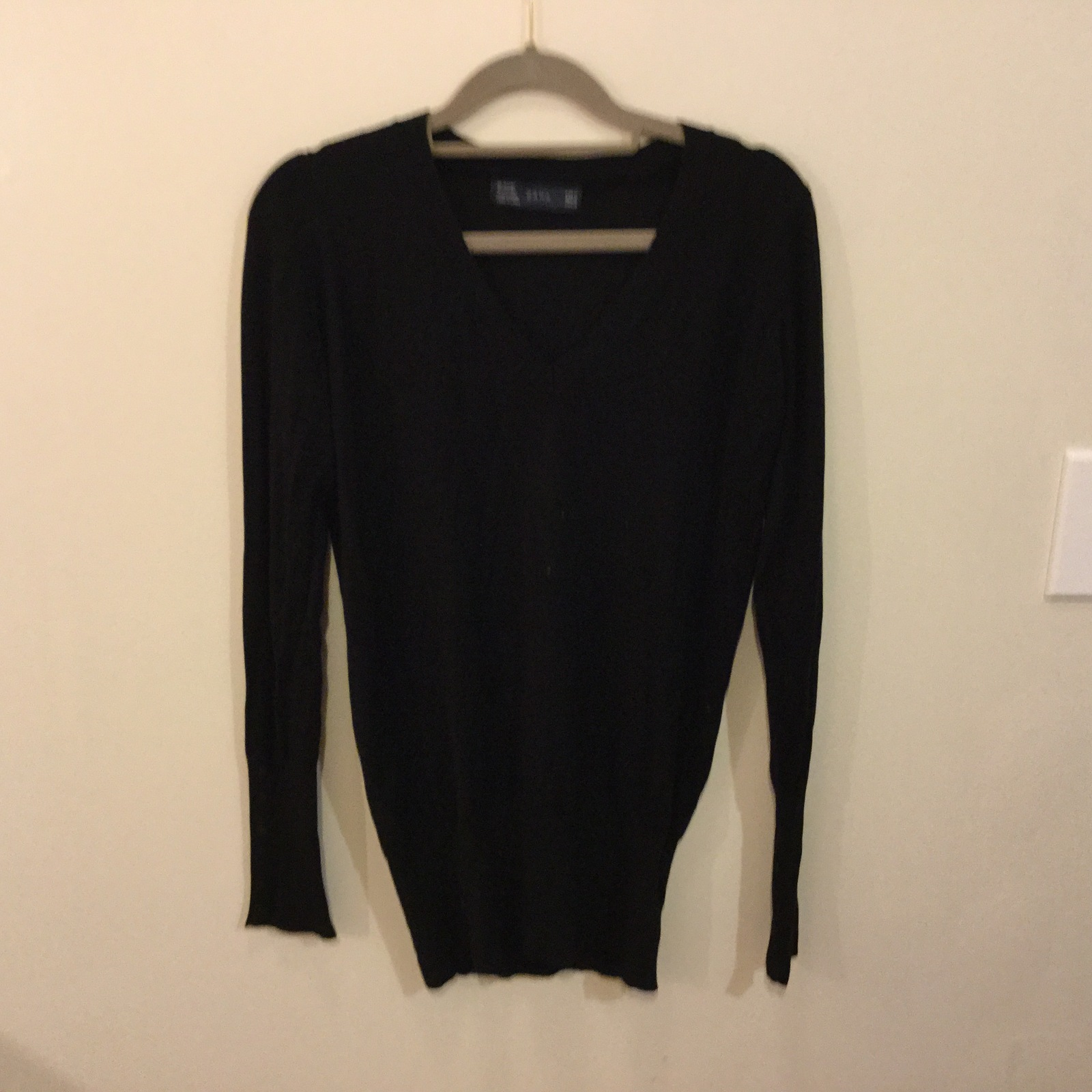 Zara Black V-Neck Rayon blend Ling Sweater Cardigan, size M
