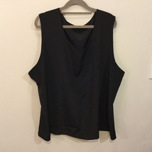 Women's Black Sleeveless 100% polyester Tank Top Blouse Crew Neck, size 22W/24W