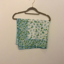 """White Blue Green Flowers Design Square Scarf with Border, 27""""x27"""" image 2"""