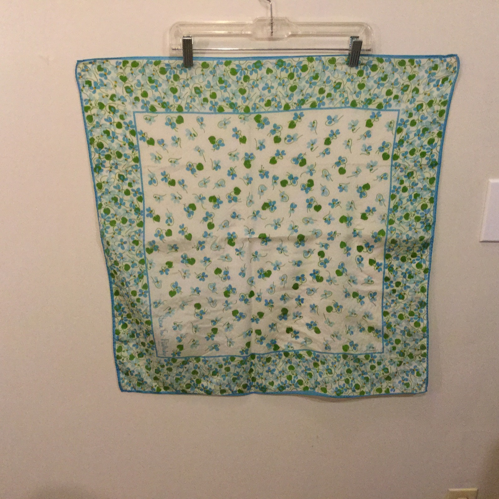 "White Blue Green Flowers Design Square Scarf with Border, 27""x27"""
