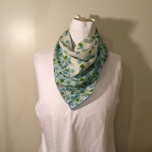 """White Blue Green Flowers Design Square Scarf with Border, 27""""x27"""" image 3"""