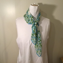 """White Blue Green Flowers Design Square Scarf with Border, 27""""x27"""" image 4"""