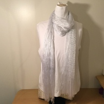 White Metallic Silver Scarf with Fringe Line Pattern 100% Polyester