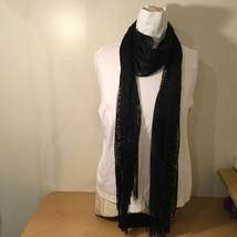 Black Silver Metallic Scarf with Fringe Line Pattern 100% Polyester