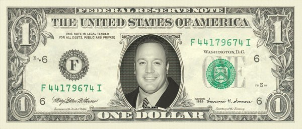 KEVIN JAMES on REAL Dollar Bill Cash Money Bank Note Currency Dinero Celebrity