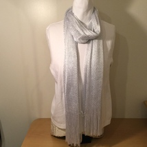 White Metallic Silver Scarf with Fringe Diamond Pattern 100% Polyester - $34.99