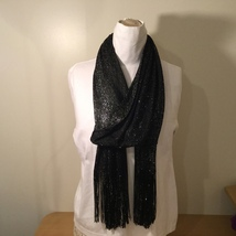 Black Metallic Silver Scarf with Fringe Diamond Pattern 100% Polyester - $34.99