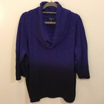 Notations Woman Blue/Black Slouch Neck 3/4 Sleeve Sweater, size 1X with Crystals