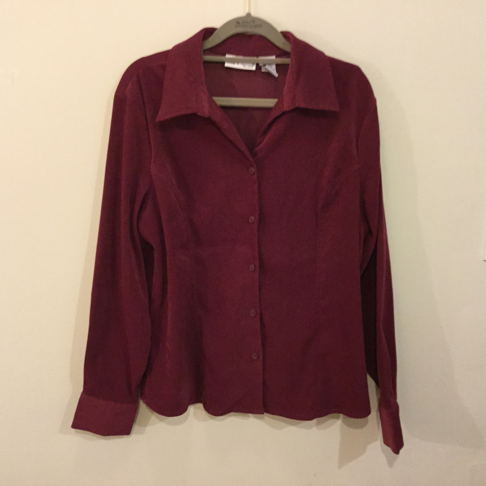 Croft & Barrow Stretch Moleskin Polyester Maroon Button Up Casual Shirt, size L