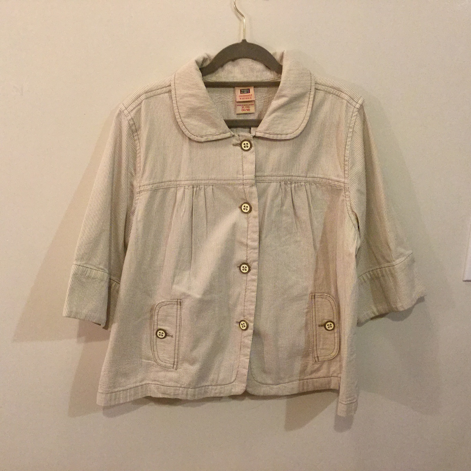 Faded Glory Tan White Striped 100% Cotton Cropped Jacket 3/4 sleeve, size 16/18