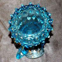 Blue Fenton Trumpet Hobnail Pitcher AA19-1690 Vintage image 5