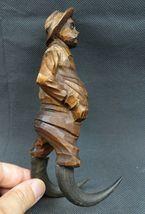 Antique 1900 German Black Forest Carved Wood Figural Chamois Horns Hook Rack image 6
