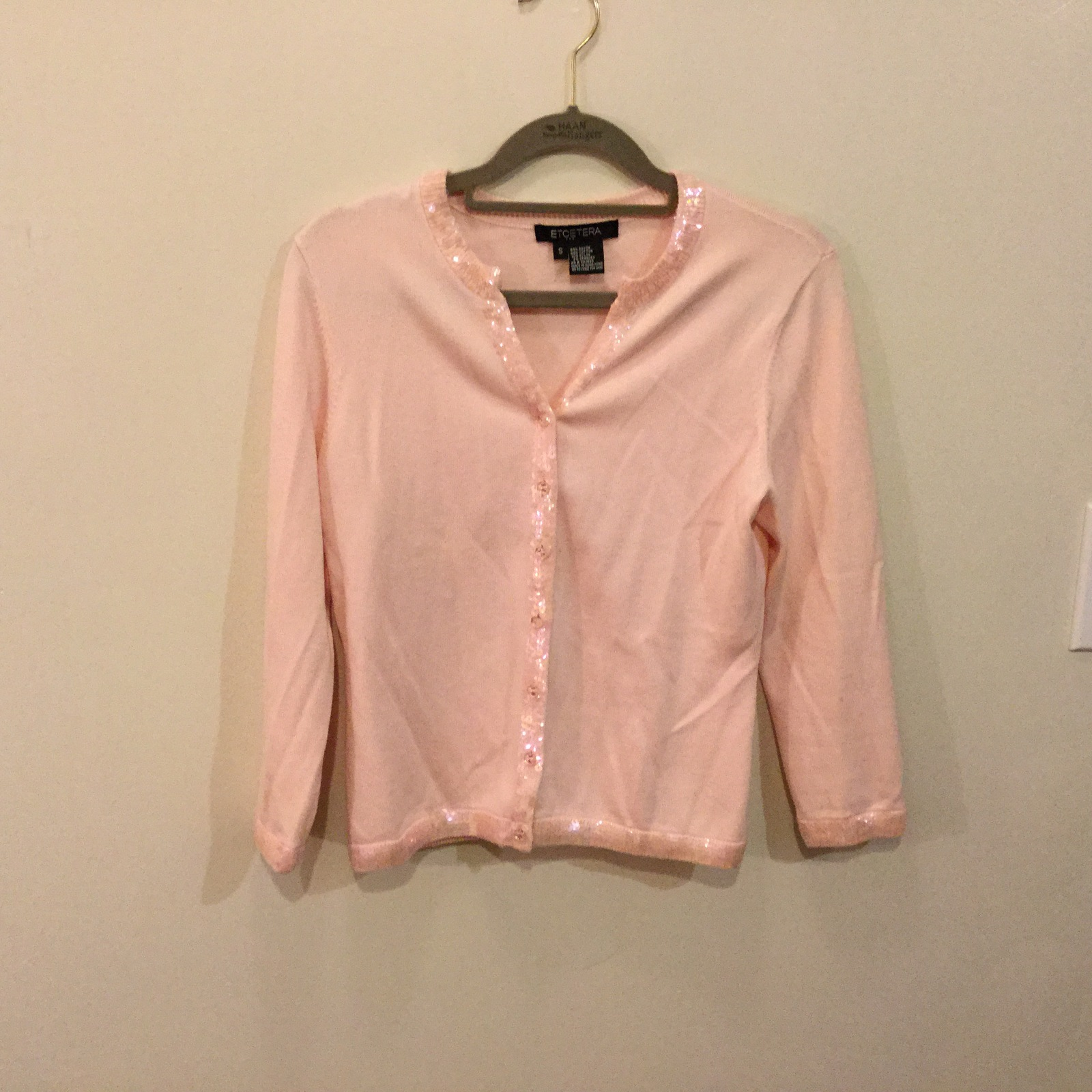 Etcetera Light Pink V-Neck Cardigan Sweater with Sequins, size Small