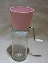 Vintage Pink Plastic Top Hand Crank Nut Grinder // Nut Chopper - $10.50