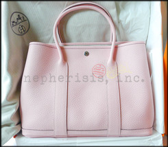 AUTH NIB Hermes GARDEN PARTY 36 MM Leather Bag Pink ROSE SAKURA 3Q Vache... - $4,950.00