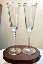 Vintage Pair Mikasa Crystal Sonata Fluted Gold Trim Champagne Flute Glas... - $24.50
