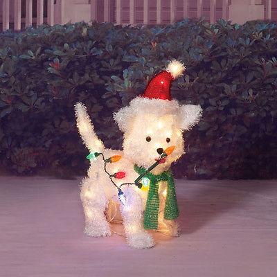 Santa Puppy Dod Sculpture Outdoor Lighted 24 Christmas