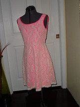 Bobbie Brooks Dress Size M Hot Pink Cream Lace  Nwt - $19.99