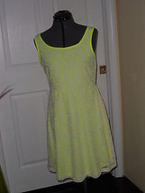 Bobbie Brooks Dress Size M Neon Yellow Cream Lace  Nwt - $18.74