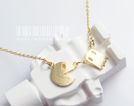 Pacman necklace, cute necklace, game necklace, pacman necklace, ghost ne... - $9.80