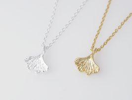 Ginkgo leaf necklace, ginkgo charm, ginkgo necklace, leaf necklace, brid... - $8.90