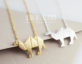 Origami Camel necklace, origami necklace, origami jewelry, animal necklace. - $9.80