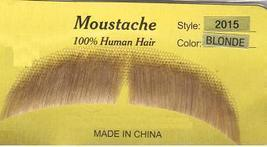 BLOND SLIGHT DOWNTURN HUMAN HAIR MUSTACHE - $9.25
