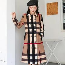 Women DoubleBreasted High Fashion Style Broadcloth Plaid Trench Coat image 1