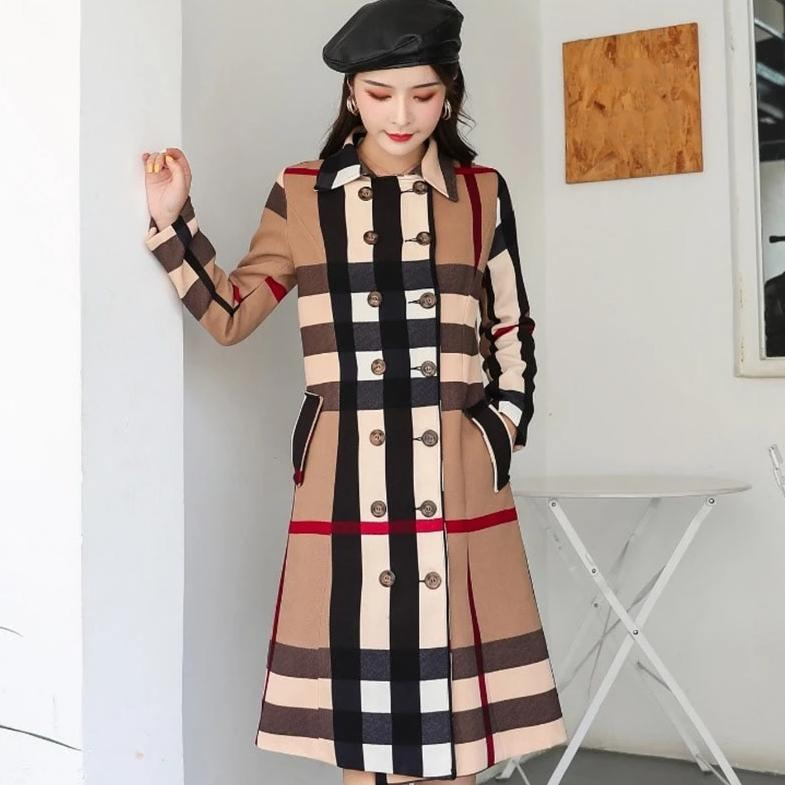 Utumn and winter women s new ladies double breasted color matching retro jacket temperament long