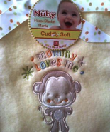 """Baby Blanket Yellow Fleece """"Mommy Loves Me"""" By Nuby  - $14.95"""